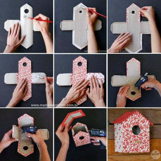 Hazlo tú mismo: casitas de pajaritos de cartón