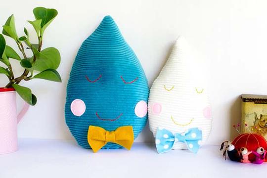 DIY Cojines infantiles gotas de agua