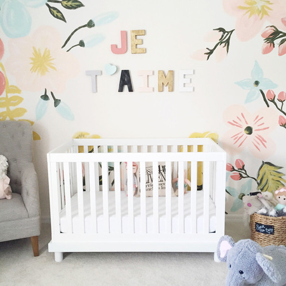 Mural infantil de flores para la habitacin del beb DECORACIN BEBS