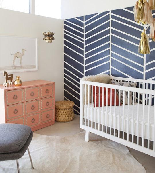 Rayas Chevron en el dormitorio del bebé