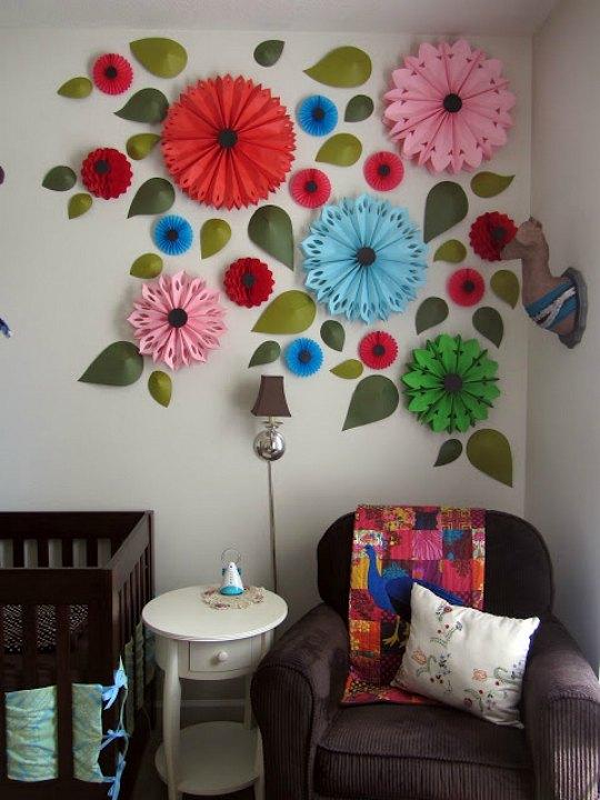 decoracin de paredes con flores de papel