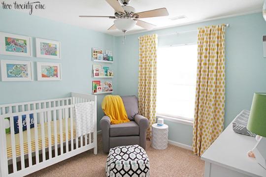Habitaciones de bebés pintadas de color azul claro
