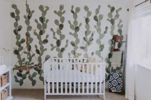 Mural cactus en el cuarto del bebé