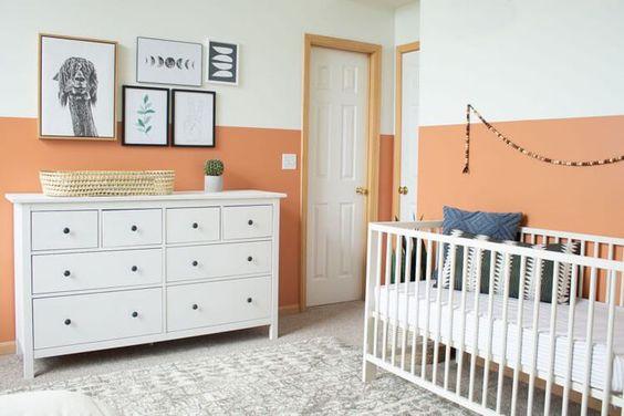 Habitaciones bebe naranja y blanco