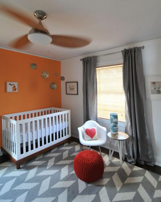 Habitaciones bebe naranja y gris