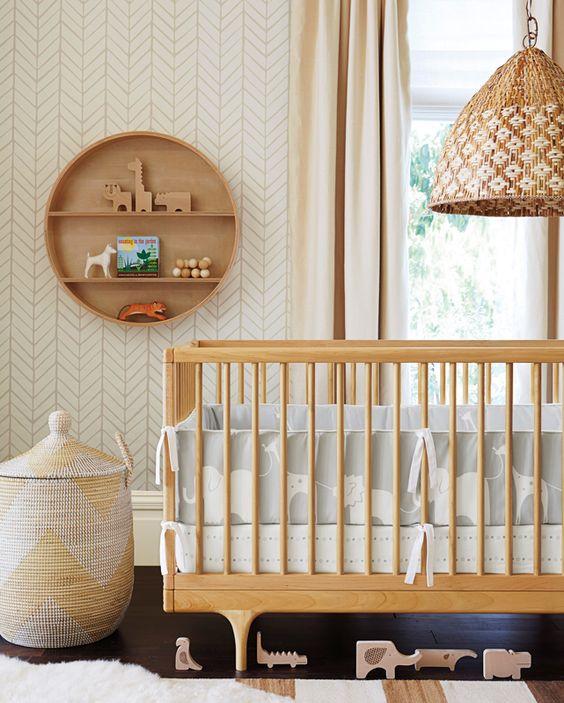 Dormitorio de bebés de estilo Natural