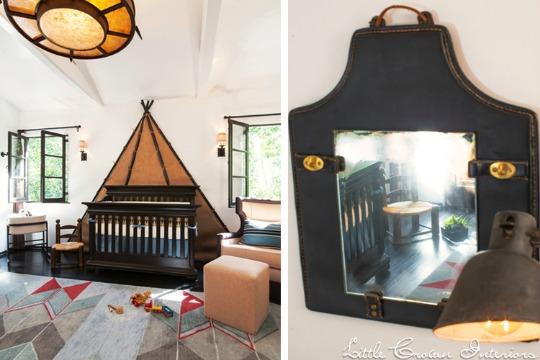 Muebles clásicos de color oscuro para el bebé