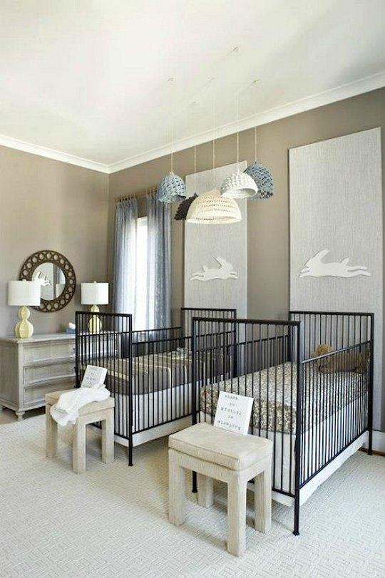 inspiracion habitacin para gemelos en tonos grises