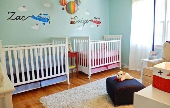 Habitaci n para dos beb s ni o y ni a decoraci n beb s - Habitacion de bebe nina ...