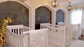 original dormitorio para tres bebs