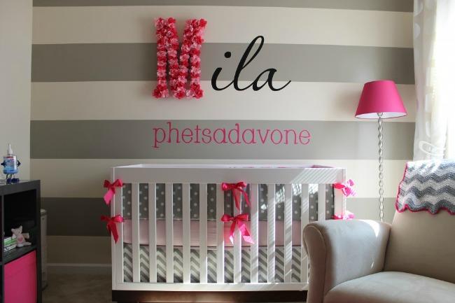 Letras de flores para decorar el cuarto del beb for Decoracion habitacion nina gris y rosa