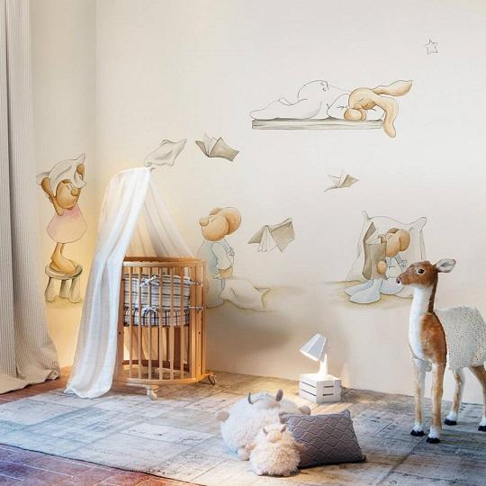 Murales y papeles pintados de pilar burguet decoraci n beb s for Decoracion pared bebe nino