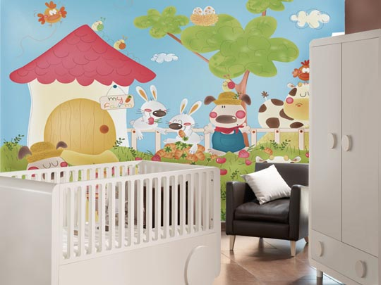 Murales para habitaciones de beb s la bambolina - Habitaciones infantiles decoracion paredes ...