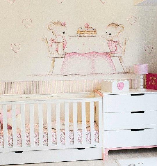 Murales de papel efecto pintado a mano decoraci n beb s - Papeles pintados bebe ...
