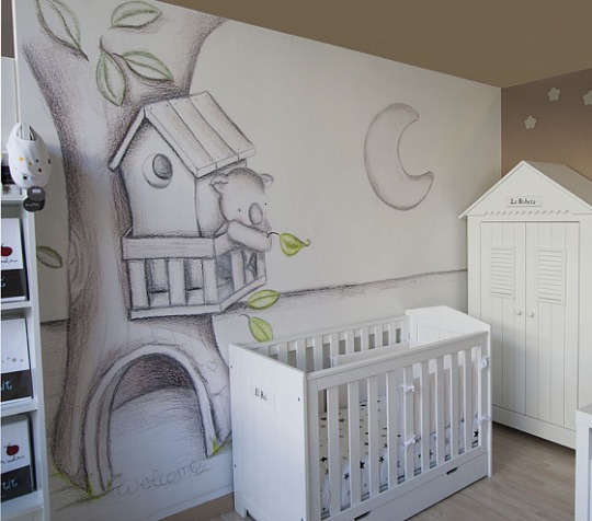Murales de papel efecto pintado a mano decoraci n beb s for Murales habitacion bebe