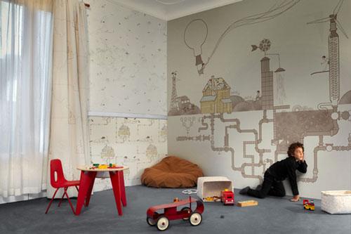 adems de papeles ilustrados cuentan con murales textiles y visillos para hacernos ms fcil la tarea de decorar la habitacin ms importante de la casa