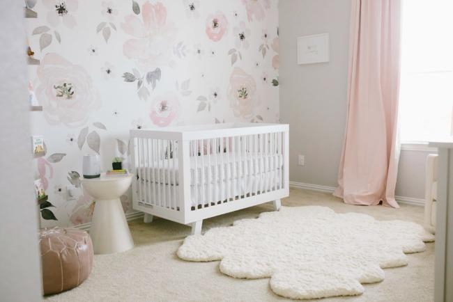 Papel pintado floral para harper decoraci n beb s - Papel pintado para bebe ...