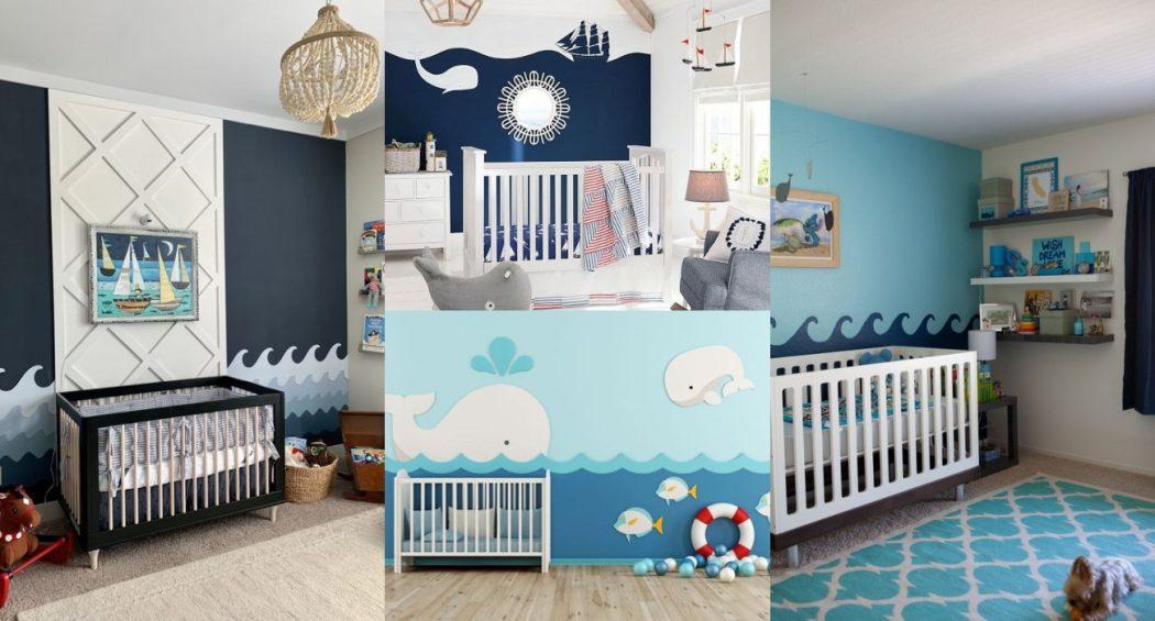 Pintar olas en la pared del bebé