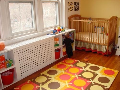 Como camuflar el radiador en la habitación del bebé. Decoracionbebes.es