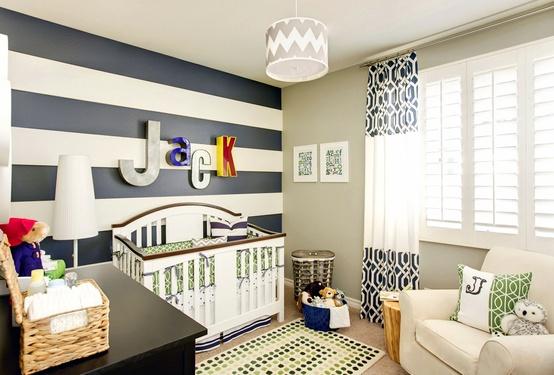 Habitaciones de bebes a rayas decoraci n beb s - Habitaciones pintadas con rayas ...