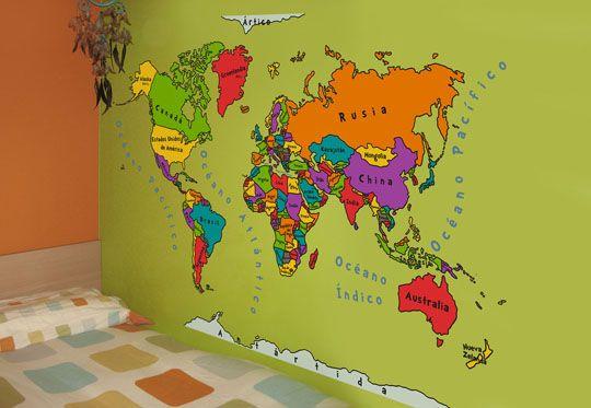 Vinilo decorativo mapamundi decoraci n beb s for Vinilo mapa del mundo