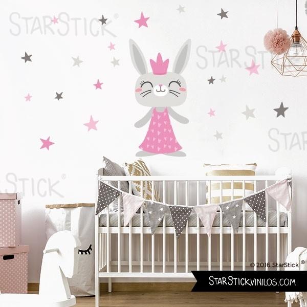 Vinilos de estilo n rdico para ambientes infantiles for Vinilo habitacion bebe nina