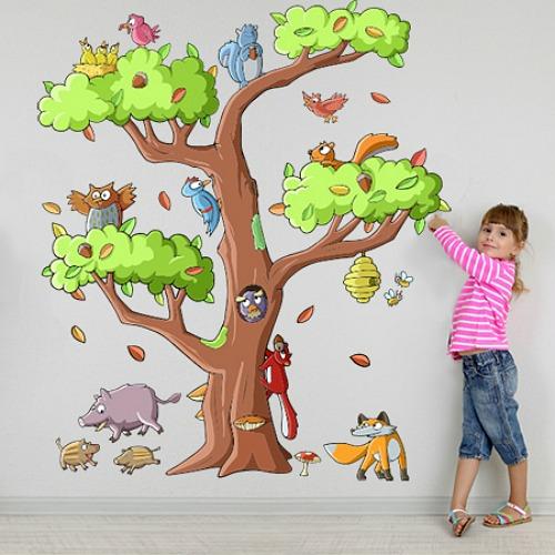 Vinilo rbol con animales para la habitaci n del beb - Cosas para decorar la habitacion ...